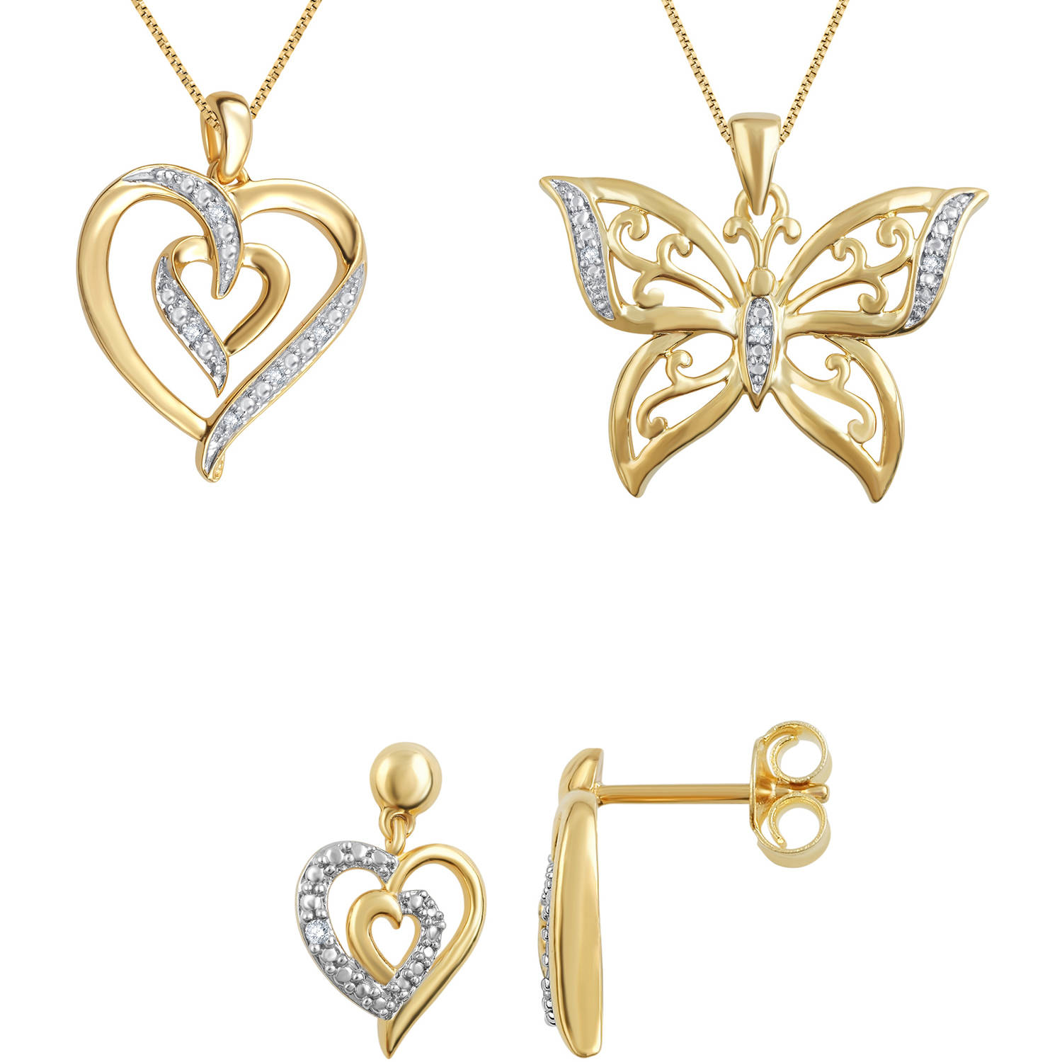 18kt Gold-Plated Brass Diamond Accent 3-Piece Fashion Jewelry Set with Heart Earrings, Heart Pendant and Butterfly Pendant