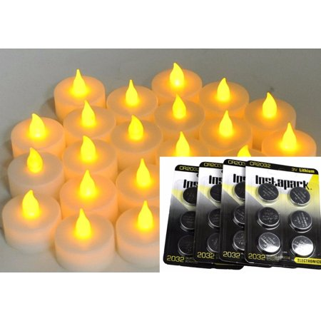 Instapark 24 LED Faux Flameless Flickering Tea Light Candles, 2-Dozen per Pack Pet-safe and Child-safe Wind-proof Indoor & Outdoor (2-dozen Bonus Replacement Batteries Included)