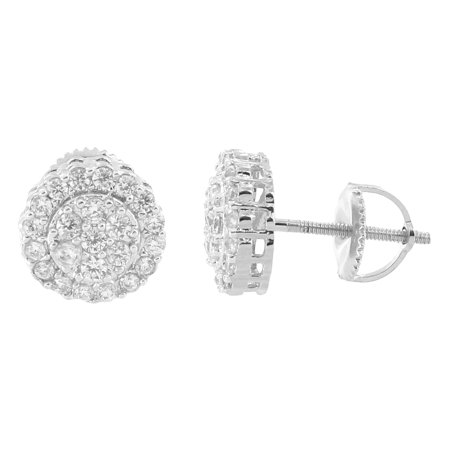 Round Prong Set Earrings 14k White Gold Plate Screw On Studs Mens Round Shape On Sale