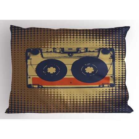 70s Party Pillow Sham Audiocassette Retro Music Theme Pop Art Vintage Obsolete Fun Happy Vibes, Decorative Standard Size Printed Pillowcase, 26 X 20 Inches, Brown Black Orange, by Ambesonne
