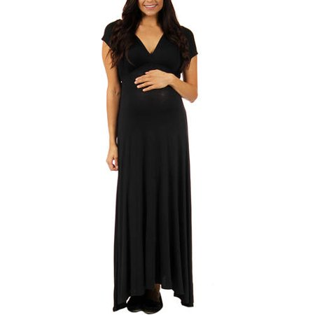 24/7 Comfort Apparel Women's Faux Wrap Maxi Maternity Dress