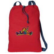 Canvas Peace Frogs Drawstring Bag DELUXE Peace Frog Backpack Cinch Pack for Him or Her