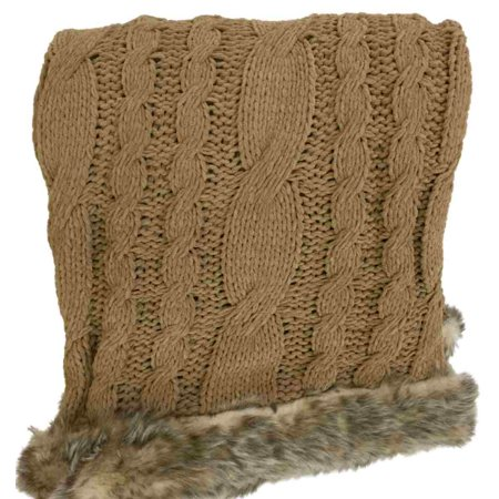 Golden Tan Cable Knit Chenille Throw Blanket With Fur