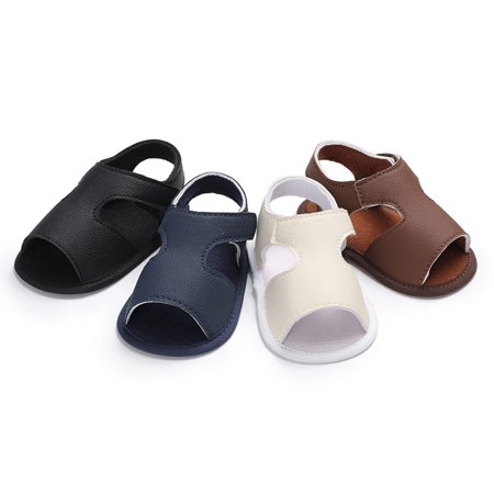 Baby Boy Shoes Non-Slip Rubber Sole PU Leather Summer Sandal First Walkers For Baby Infant Toddler Blue 11cm ()