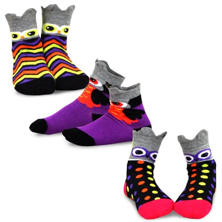 TeeHee Halloween Kids Cotton Fun Crew Socks 3-Pair Pack (Owl Faces)