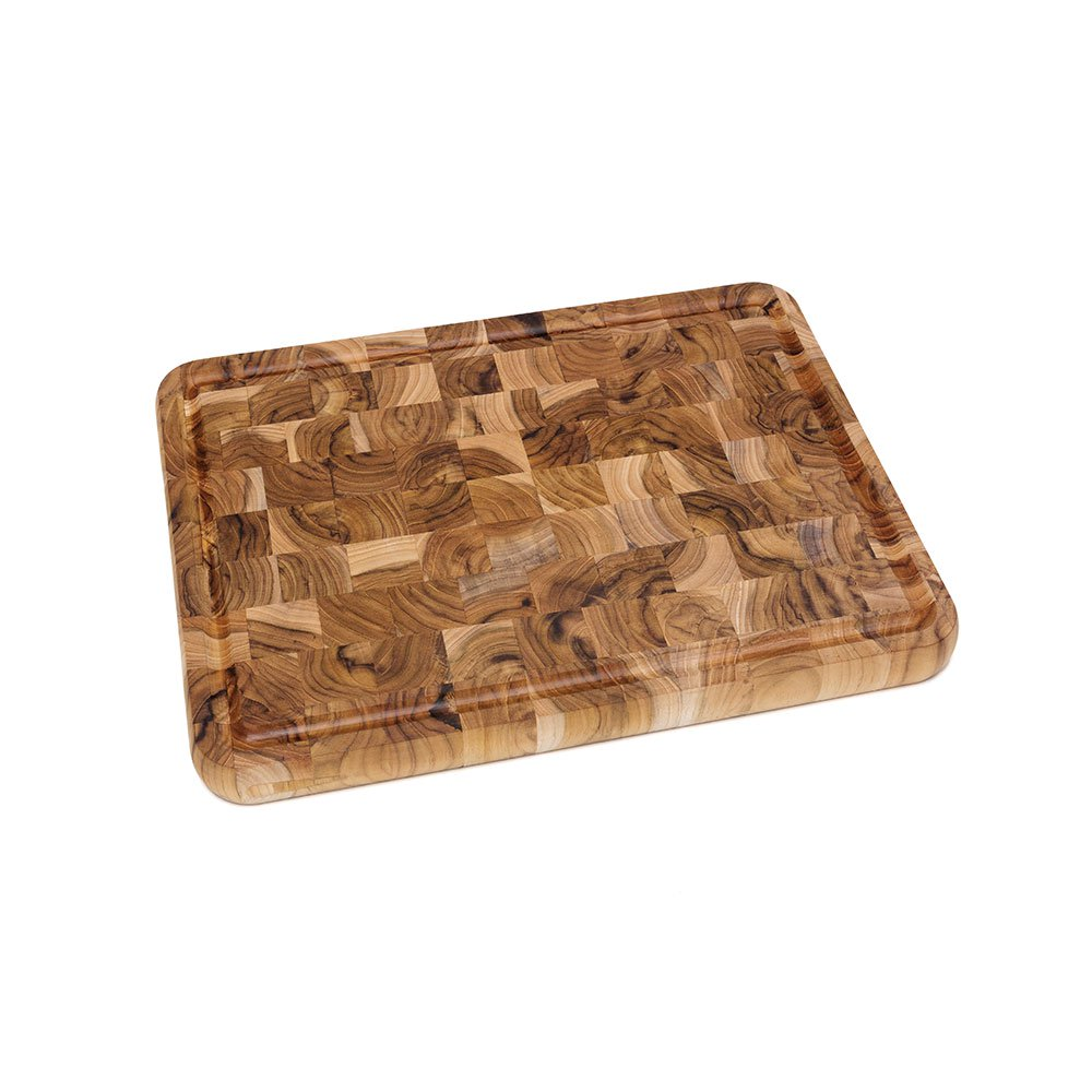 "Lipper International Teak End Grain Wooden 16"" x 12"" Chopping Block with Handles"
