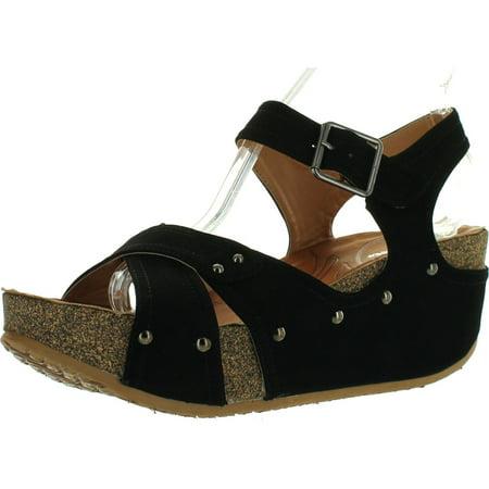 FOREVER FREYA-23 Womens Cork Look Platform Ankle Strap Low Wedge - Ankle Platform Wedge Sandal