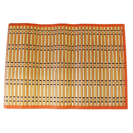 Bamboo Placemat (Alternating Dyed Orange and Plain Bamboo Rollout Meal)