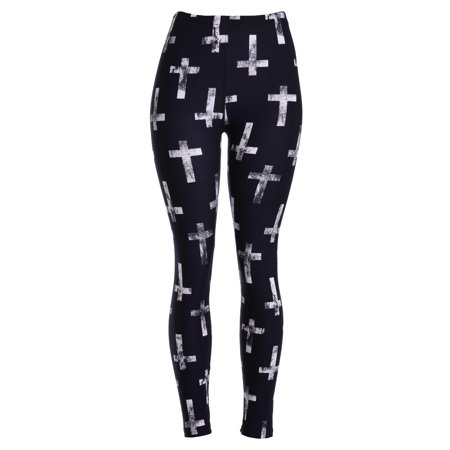 ViV Collection Printed Brushed Leggings Antique Cross - Black And Red Striped Leggings
