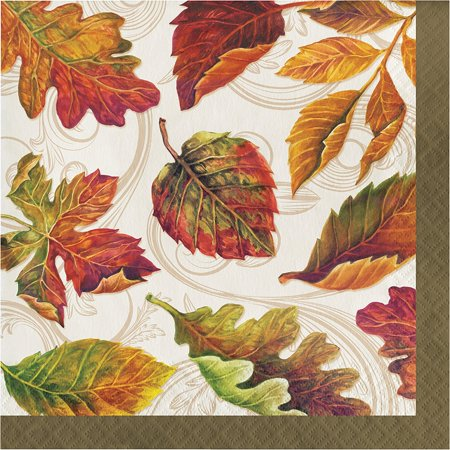Colors of the Wind Thanksgiving Fall Leaves 16 Ct Lunch Paper Napkins](Thanksgiving Napkins Paper)