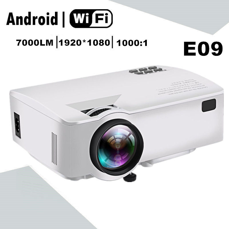 E09 LED Projector 3D Home Theater 7000lm FHD 1080P 4K Android BT WIFI 2 Color