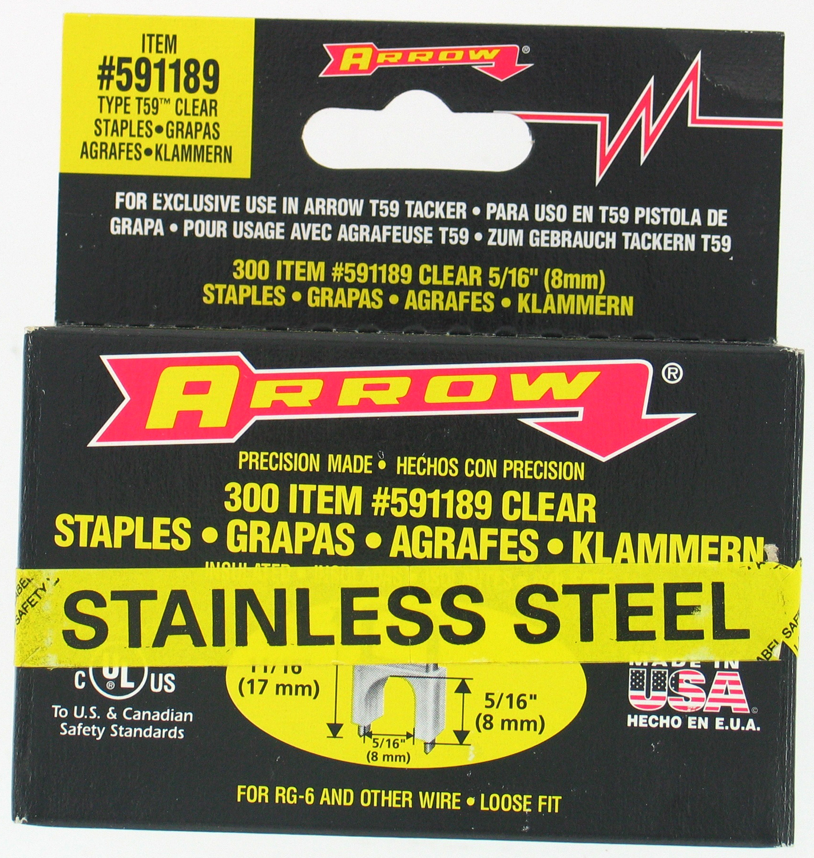 "Arrow Fastener Co. 591189SS 5/16"" X 5/16"" Black T59 Stainless Steel Staples"