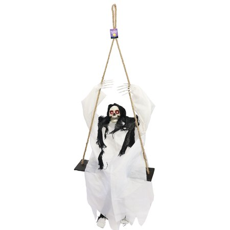 Halloween Haunters Hanging Animated Swinging Skeleton Reaper with Sound and Light-Up Eyes - Prop Decoration](Halloween Hlw)