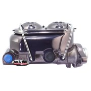 Tuff Stuff Performance 2018NA7 Brake Master Cylinder; Universal; Dual Reservoir; 1 in. Bore; 9/16 in. And 1/2 in. Driver Side Ports; Shallow Hole; Fits Hot Rods/Customs/Muscle Cars; Black Chrome;