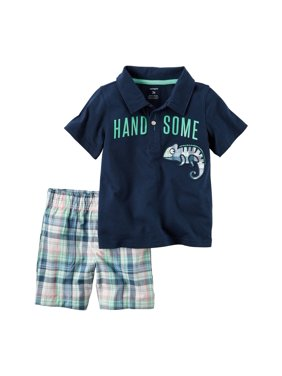 58d93f7bf Product Image Carters Baby Clothing Outfit Boys 2-Piece Handsome Polo &  Plaid Short Set Blue