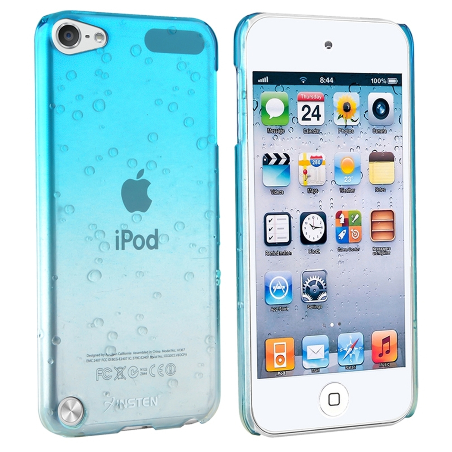 Insten Clear Sky Blue Waterdrop Snap-On Hard Plastic Cover Case For Apple iPod Touch 6G 6 6th 5G 5 5th Gen
