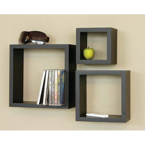Cubbi Set of 3 Cube Wall Shelves, Multiple Colors