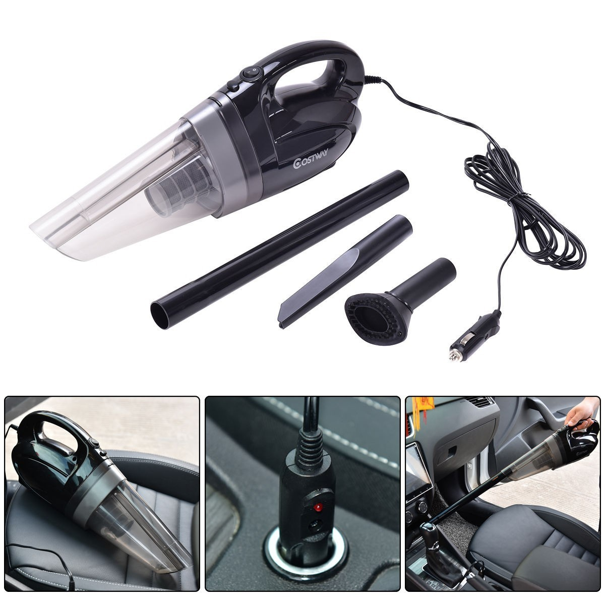 12V 100W Portable Handheld Vacuum Cleaner For Cars - Black