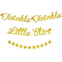 2-Pack Twinkle Little Star Garland Banner Decorations for Baby Shower, Gender Reveal, Kids Birthday Party, Gold, 10 feet