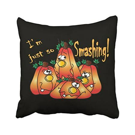 WinHome Adorable Popular Halloween Smashing Cartoon Pumpkins Polyester 18 x 18 Inch Square Throw Pillow Covers With Hidden Zipper Home Sofa Cushion Decorative - The Smashing Pumpkins Halloween Party