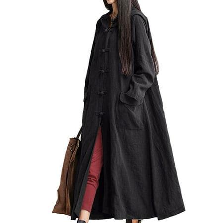 Women Plus Size Long Dress Coat Long Sleeve Pure Cotton&Linen Long Sleeve Outerwear,Black