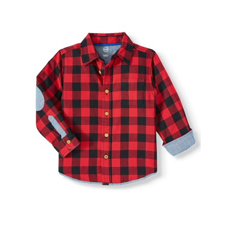 Wonder Nation Long Sleeve Plaid Button Up Woven Shirt (Toddler Boys)