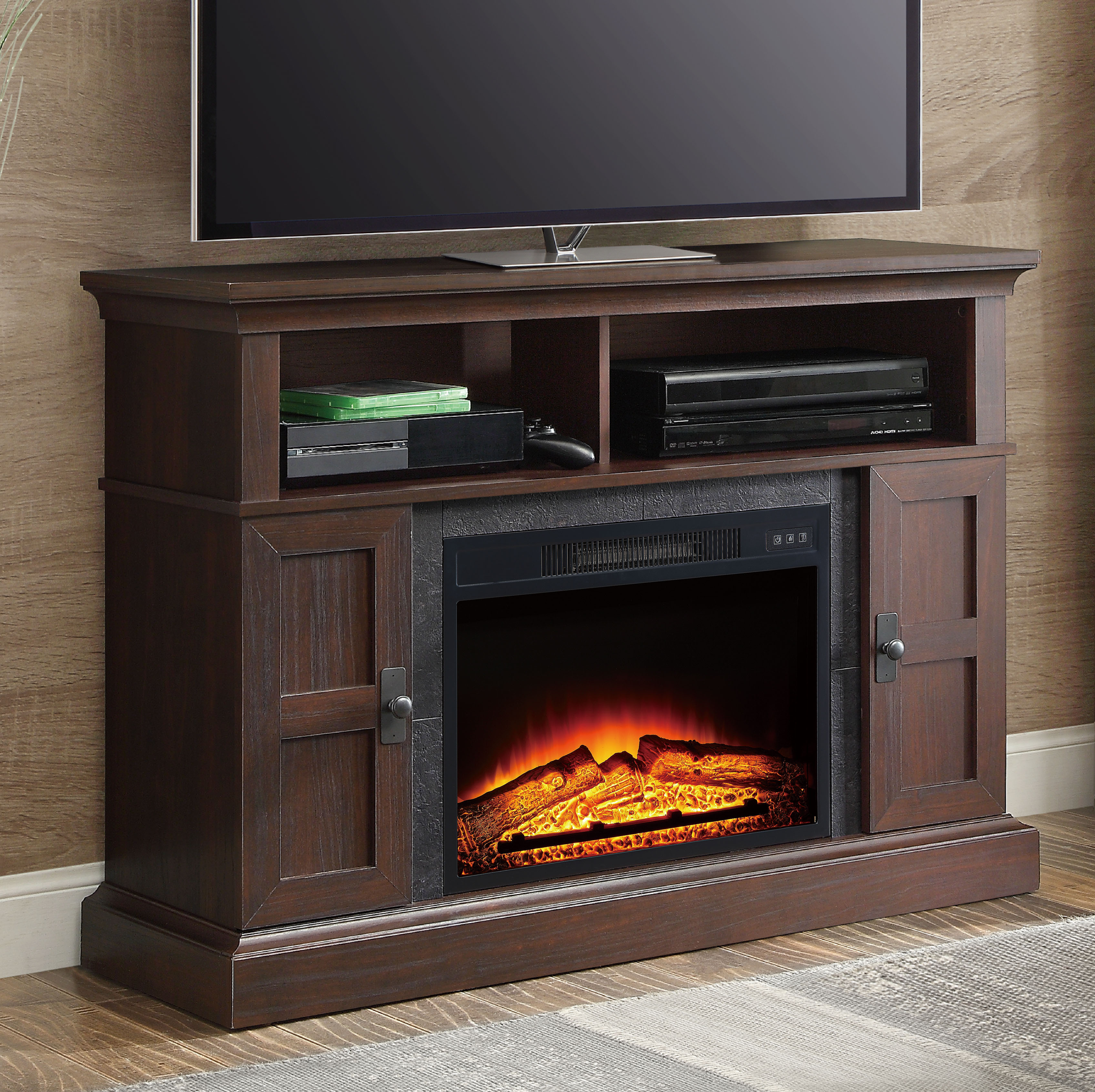 "Whalen Media Fireplace Console for TVs up to 55"", Dark Cherry"