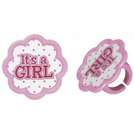 It's a Girl Pink Baby Shower Cupcake Rings - 24 pcs](Pink Safari Cupcakes)