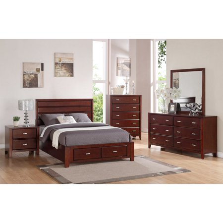Alpine Furniture Carrington Storage Panel Bed Merlot Walmartcom - Carrington bedroom furniture