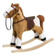 Qaba Kids Plush Interactive Rocking Horse Pony Toy with Realistic Sounds, Brown