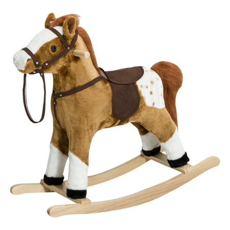 Brown Rocking Horse - Qaba Kids Plush Rocking Horse Pony with Realistic Sounds - Brown