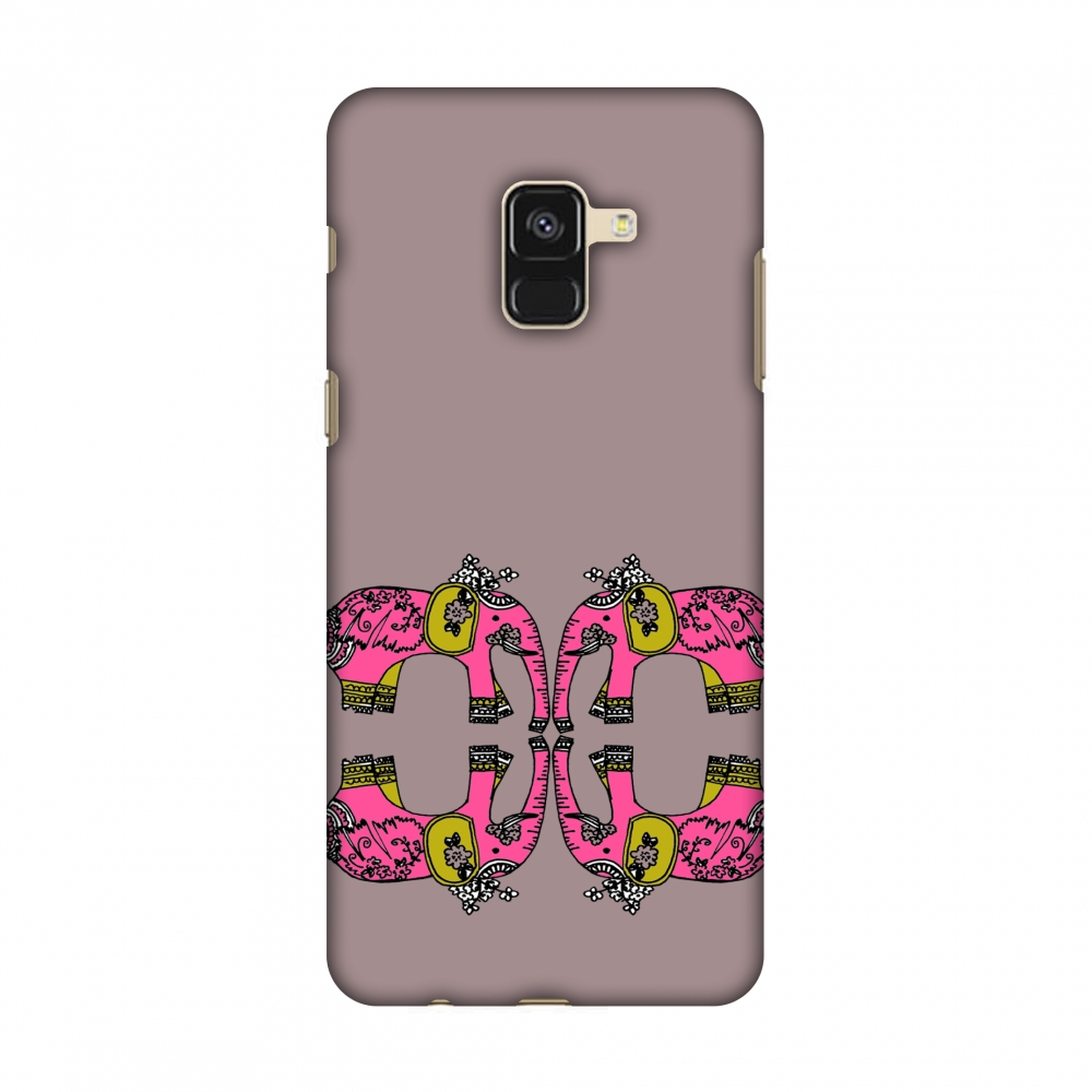 Samsung Galaxy A8 2018 Case - Elephant repeats- Plum, Hard Plastic Back Cover, Slim Profile Cute Printed Designer Snap on Case with Screen Cleaning Kit