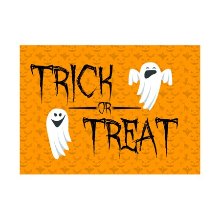 Trick Or Treat Print Ghost Pictures Orange Pumpkins Background Halloween Seasonal Decoration Sign (Halloween Pictuers)