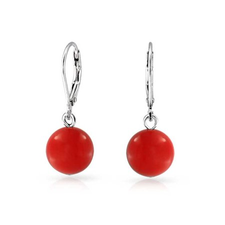 Kenneth Lane Coral Earrings - Simple Dyed Red Natural Coral Ball Round Drop Dangle Earrings For Women 925 Sterling Silver