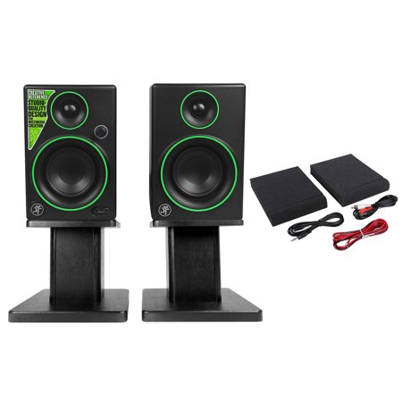 "Pair Mackie CR3 3"" Creative Reference Multimedia Monitors Speakers + Desk Stands"