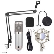 Professional Studio Broadcasting Recording Condenser Microphone Mic Kit Set 3.5mm with Shock Mount Adjustable Suspension Scissor Arm Stand Mounting Clamp Filter Mic Clip