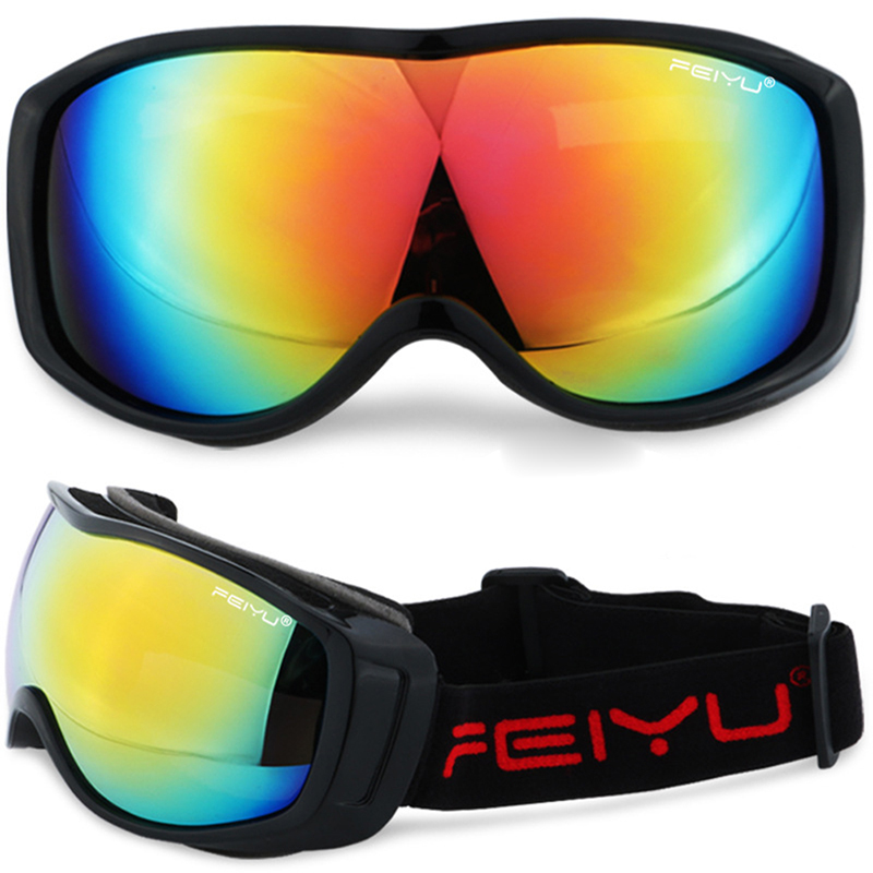 Unisex Ski Goggles Spherical UV Protection Skiing Snowboard Glasses Color:Black + color Film by