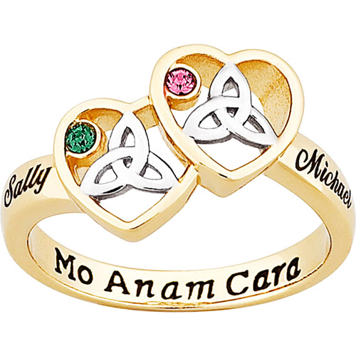 Personalized 14kt Gold-Plated Couple's Celtic Heart Birthstone and Name Ring
