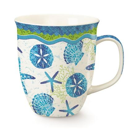 Sand Batiks - Beach Batik Blue Shells Starfish Sand Dollar Mug Porcelain 15 Ounces