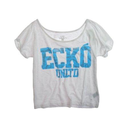 Ecko Unltd. Womens Open Neck Jeweled Logo Graphic T-Shirt