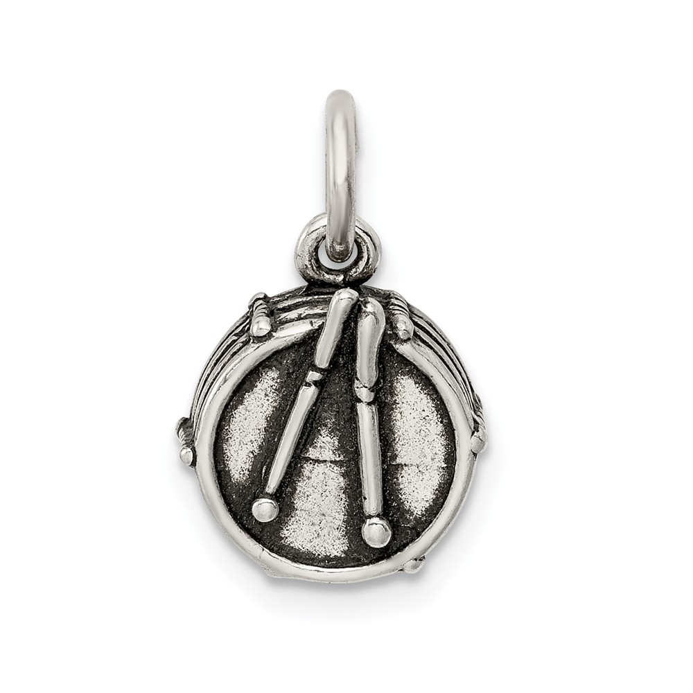 Sterling Silver Antiqued Drum Charm (0.7in long x 0.4in wide)