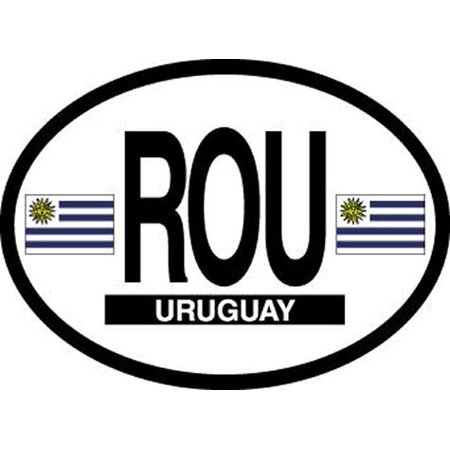 Uruguay Oval Glossly FLAG Decal, Waterproof UV Coated Laminated Reflective Vinyl STICKER, 3.5