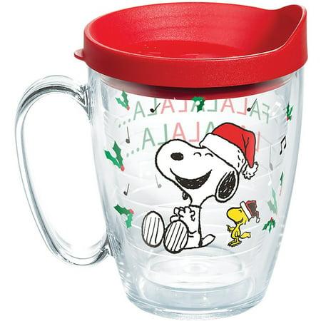 Peanuts Christmas Snoopy Santa 16 oz Coffee Mug with lid ()