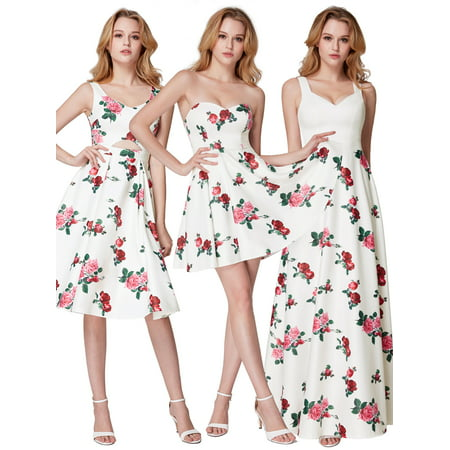 Ever-Pretty Women's Elegant Knee Length Floral Short Prom Homecoming Party Dresses for Women 05960 US 4