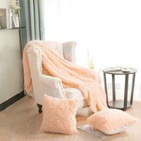 """Solid Reversible Shaggy Faux Fur Blanket Queen Size w/ White Plush Berber Reverse for Couch Bed,78"""" x 90"""",Yellow"""