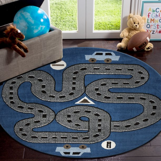 Lr Home Fun Play Whimsical Blue 4 Ft 8 In Round Kids City Signal Drive Road Highways Indoor Area Rug Walmart Com Walmart Com