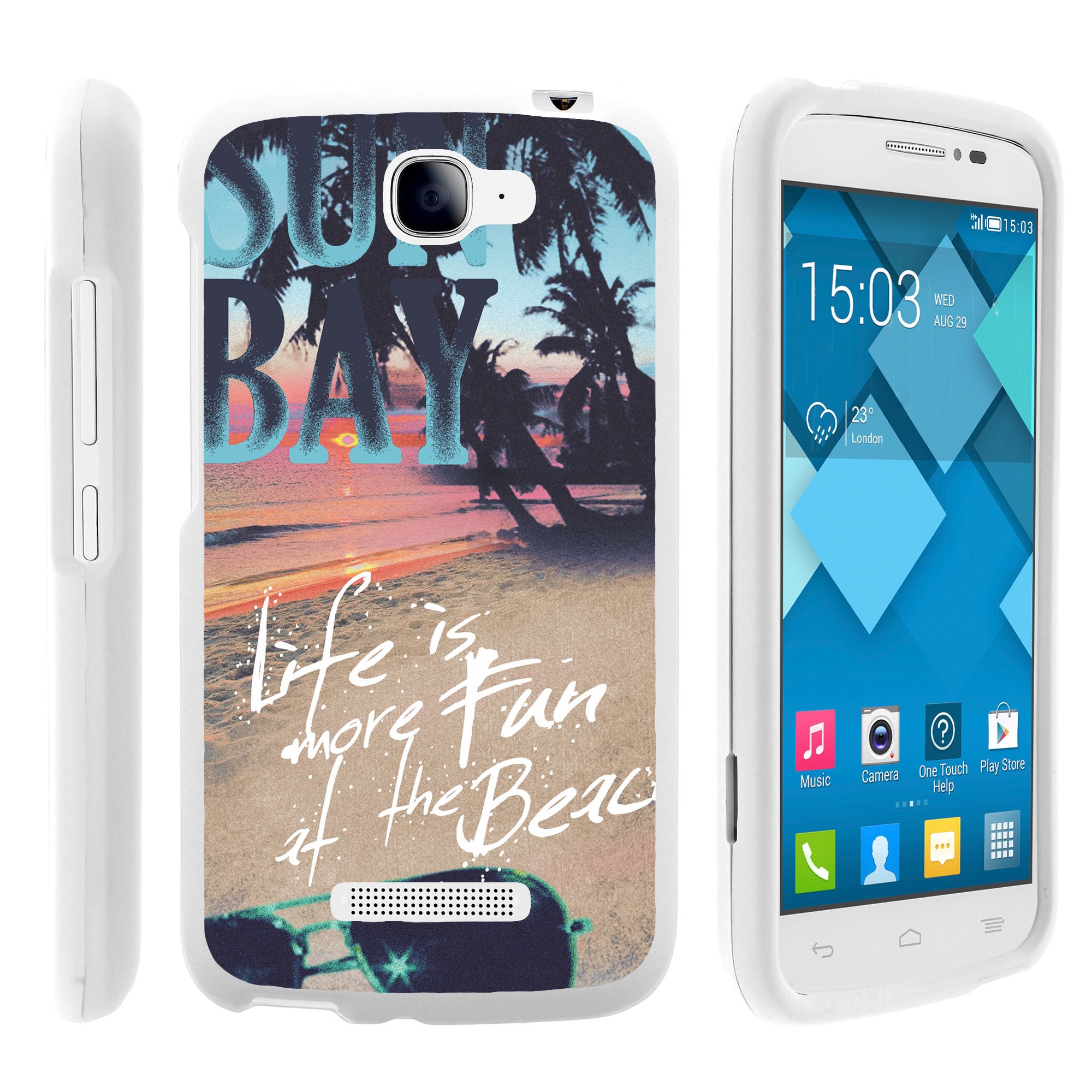 Alcatel Fierce 2, Pop Icon, 7040T, and A564C, [SNAP SHELL][White] Hard White Plastic Case with Non Slip Matte Coating with Custom Designs - Life at the Beach