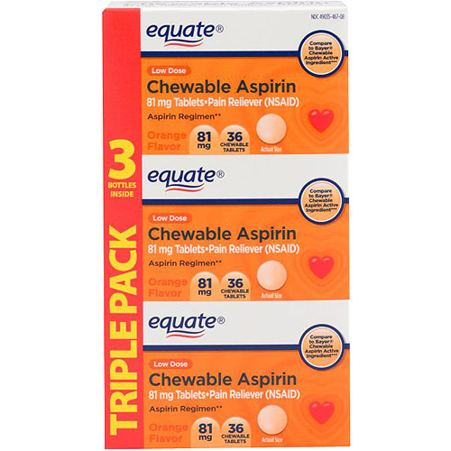 Equate Low Dose Aspirin Orange Chewable, 3X36 count