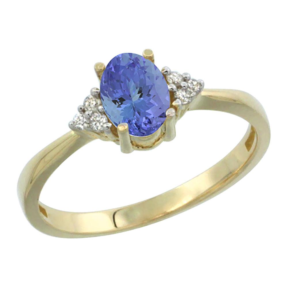 10K Yellow Gold Diamond Natural Tanzanite Engagement Ring Oval 7x5mm, sizes 5-10 by WorldJewels