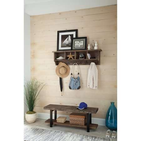 Pomona 48 Metal And Reclaimed Wood Wall Coat Hook With Bench